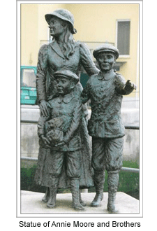 Statue of Annie Moore and Brothers