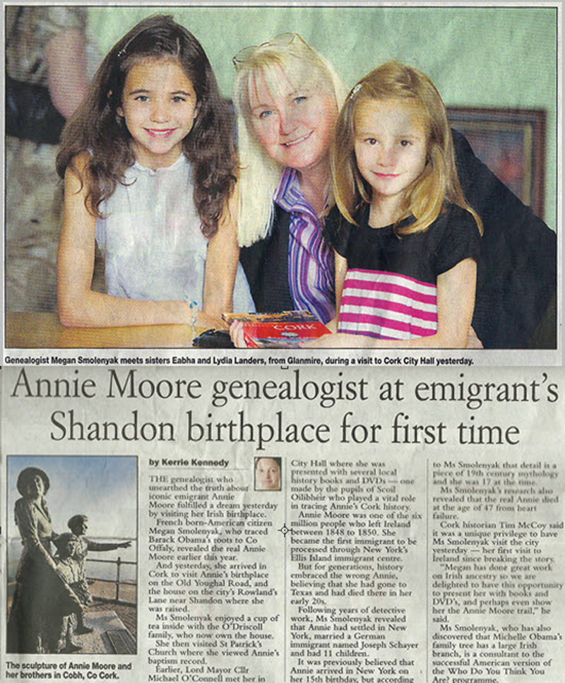 Annie Moore genealogist at emigrant's Shandon birthplace for first time
