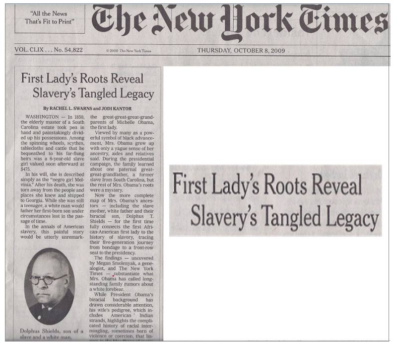 New York Times - First Lady's Roots Reveal Slavery's Tangle Legacy